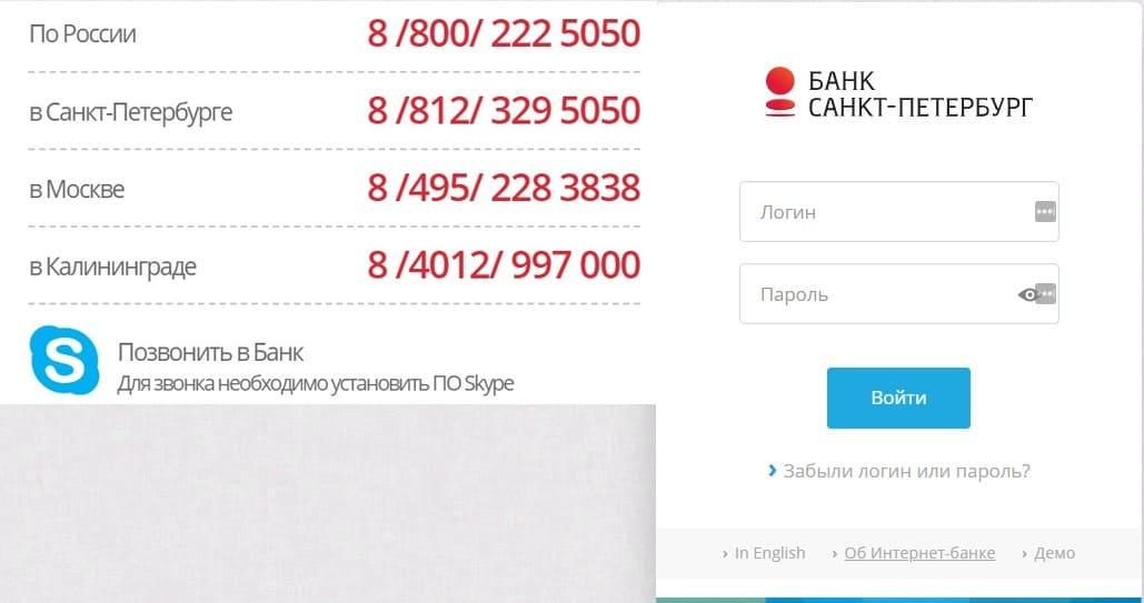 Вход в личный кабинет Санкт Петербург банк