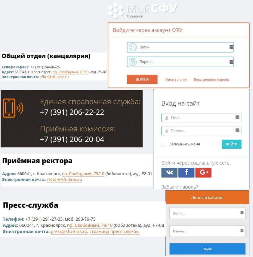 Сайт и ссылки на личные кабинеты Сибирского Федерального Университета, например «Мой СФУ»