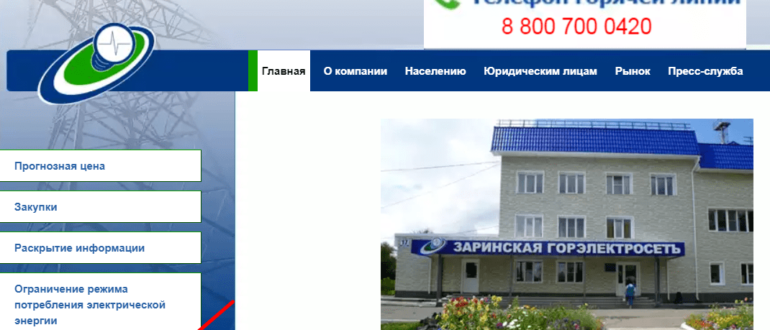 Заринская горэлектросеть личный кабинет