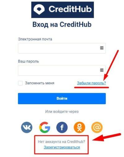 Credithub ru личный кабинет