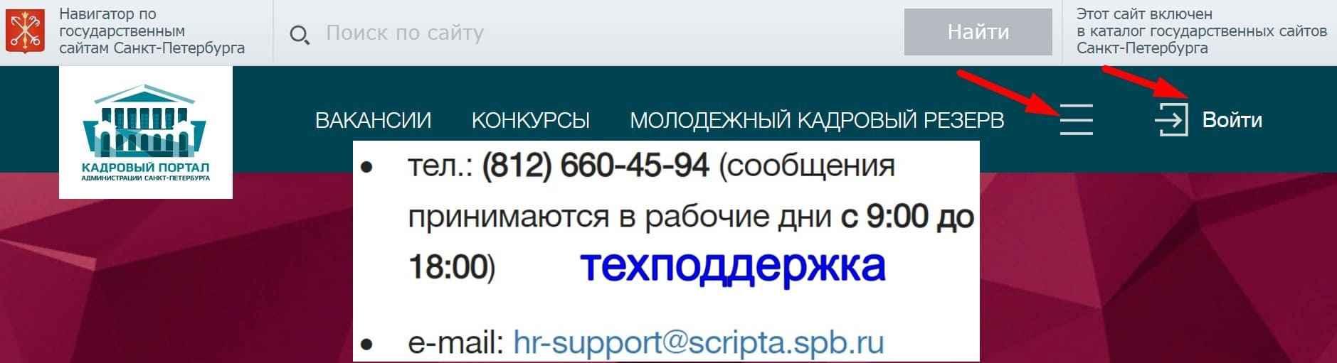 Личный кабинет кадрового портала администрации Санкт Петербурга